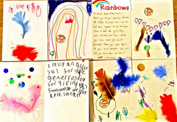 An image of a thank you letter from Lydney Rainbows