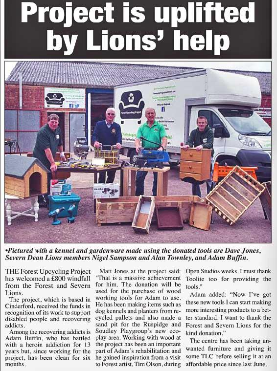 An article reporting on Forest Lions helping the Forest Upcycling effort