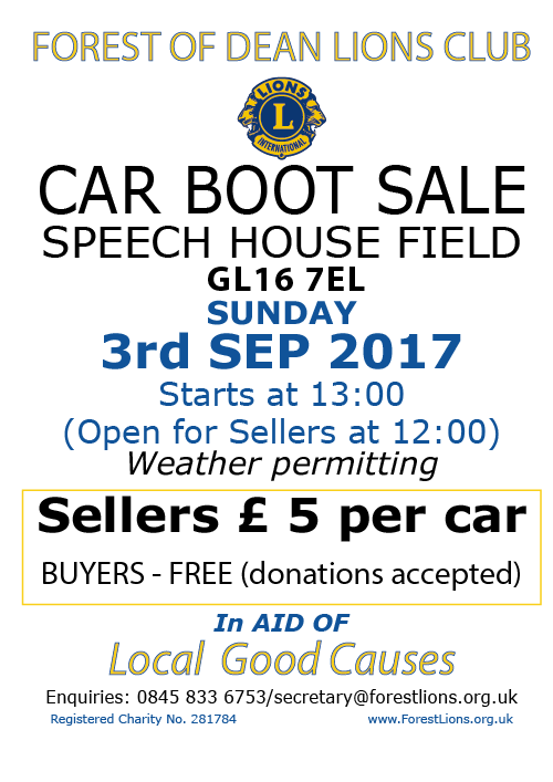 A poster for The Lions Speech House Car Boot Sale on the Speech House Field