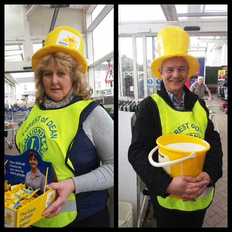 Lions Rachel and Stuart at the Marie Curie collection at Tesco, Lydney