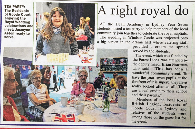 A press article about Dean Academy, Lydney, hosting a Royal Wedding party.