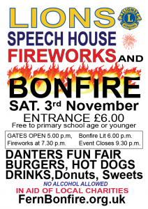 Lions Speech House Fireworks Display and Bonfire 2018