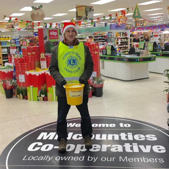 A photo showing a Lions Christmas collection at Lydney Co-op