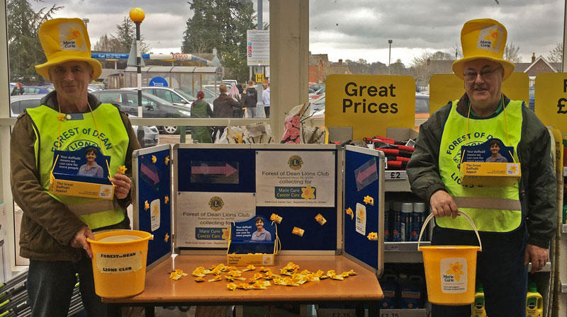A photo showing Forest of Dean Lions at the Marie Curie 2019 collection at Tesco, Lydney